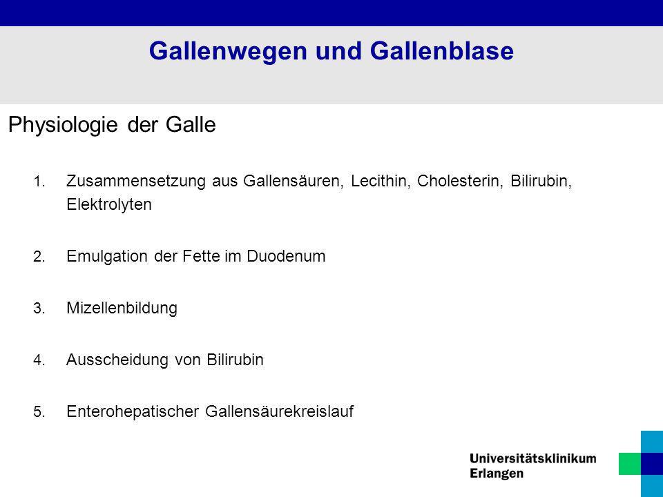 Physiologie der Galle 1. Zusammensetzung aus Gallensäuren, Lecithin, Cholesterin, Bilirubin, Elektrolyten 2. Emulgation der Fette im Duodenum 3. Mizel