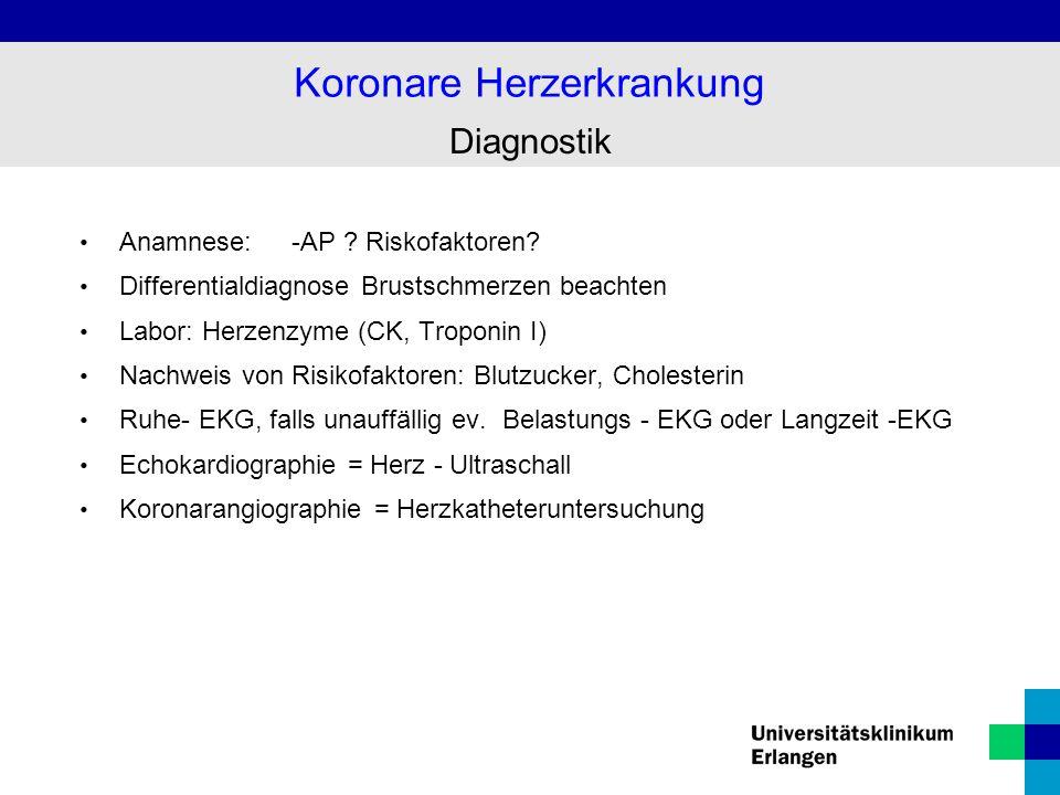 Koronarangiographie Stenose der Kranzarterie Koronare Herzerkrankung