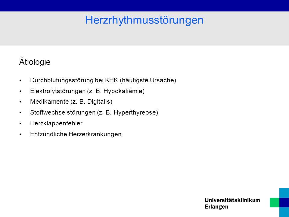 Unterscheidung zwischen supraventrikulären (Vorhof) ventrikulären (Kammer) STÖRUNGEN tachykarden (zu schnell) bradykarden (zu langsam) Herzrhythmusstörungen