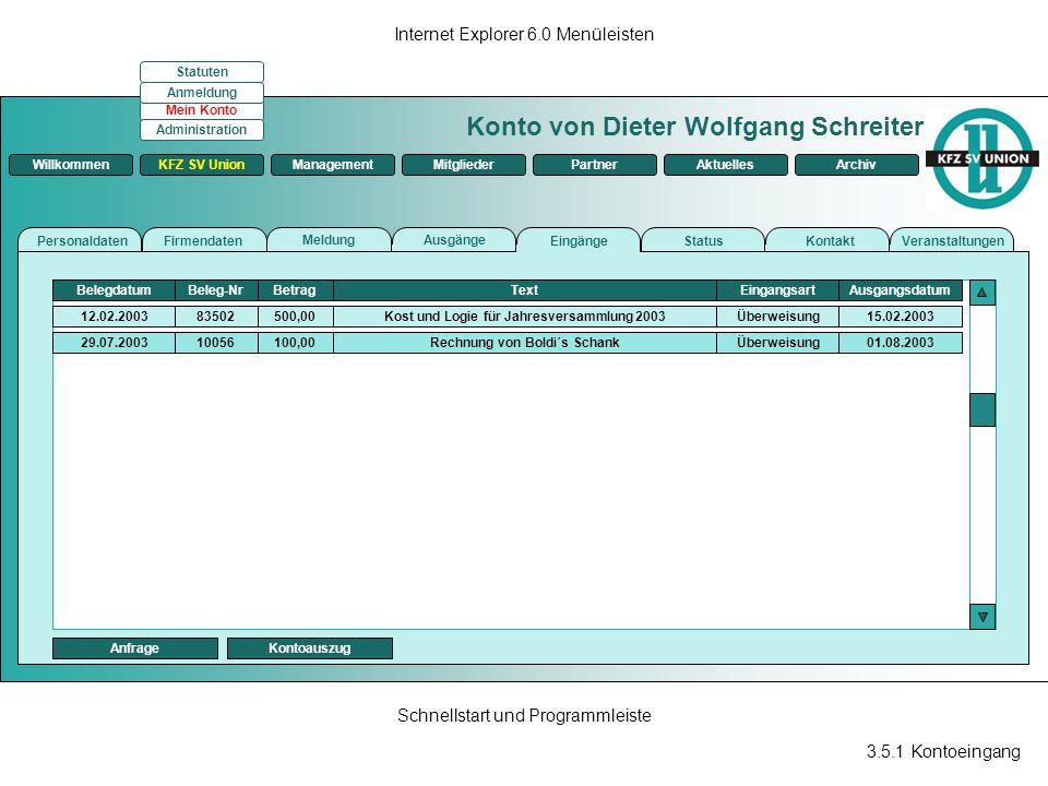 3.5.1 Kontoeingang Internet Explorer 6.0 Menüleisten Schnellstart und Programmleiste Konto von Dieter Wolfgang Schreiter ManagementKFZ SV UnionMitglie