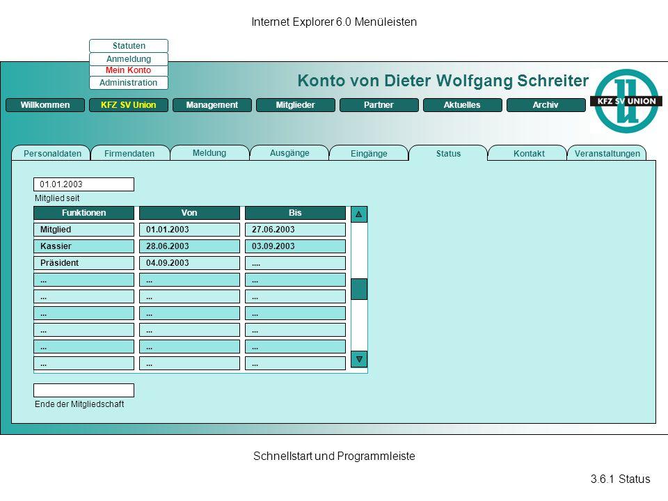 3.6.1 Status Internet Explorer 6.0 Menüleisten Schnellstart und Programmleiste Konto von Dieter Wolfgang Schreiter ManagementKFZ SV UnionMitgliederPar