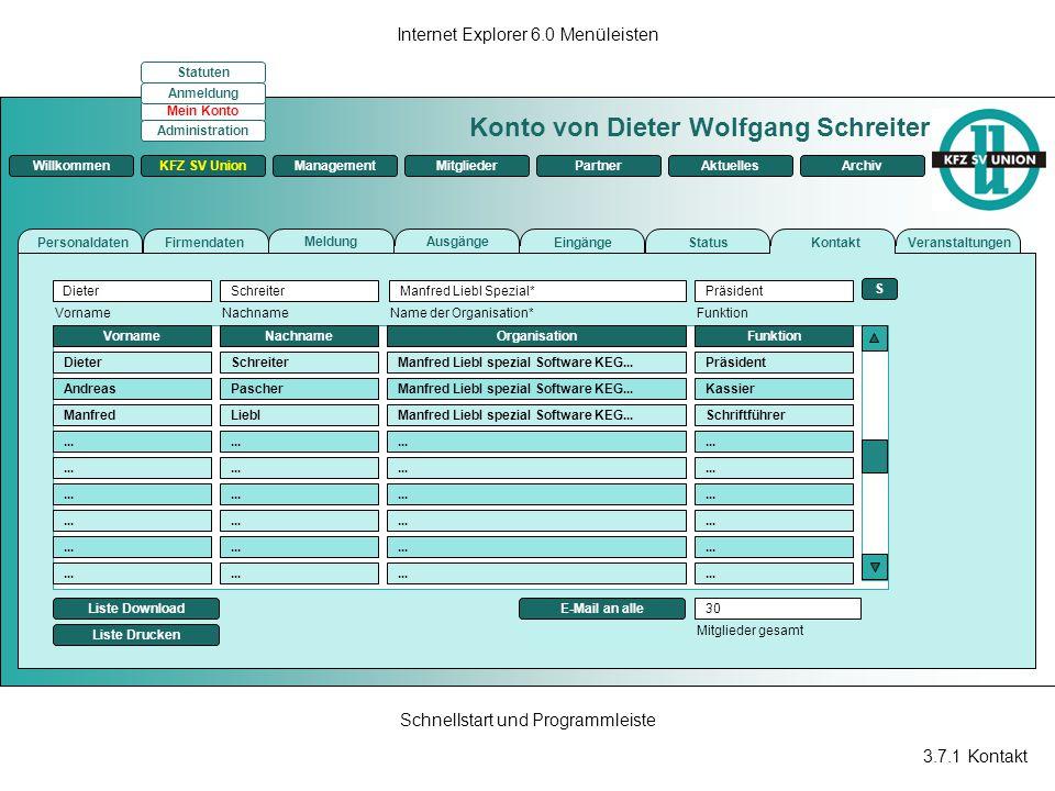 3.7.1 Kontakt Internet Explorer 6.0 Menüleisten Schnellstart und Programmleiste Konto von Dieter Wolfgang Schreiter ManagementKFZ SV UnionMitgliederPa