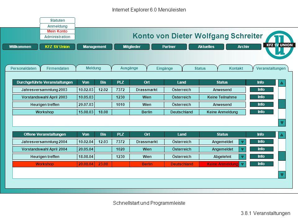 3.8.1 Veranstaltungen Internet Explorer 6.0 Menüleisten Schnellstart und Programmleiste Konto von Dieter Wolfgang Schreiter ManagementKFZ SV UnionMitg