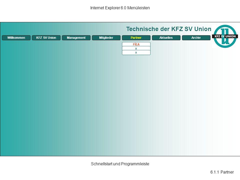6.1.1 Partner Internet Explorer 6.0 Menüleisten Schnellstart und Programmleiste Technische der KFZ SV Union ManagementKFZ SV UnionMitgliederPartnerAkt