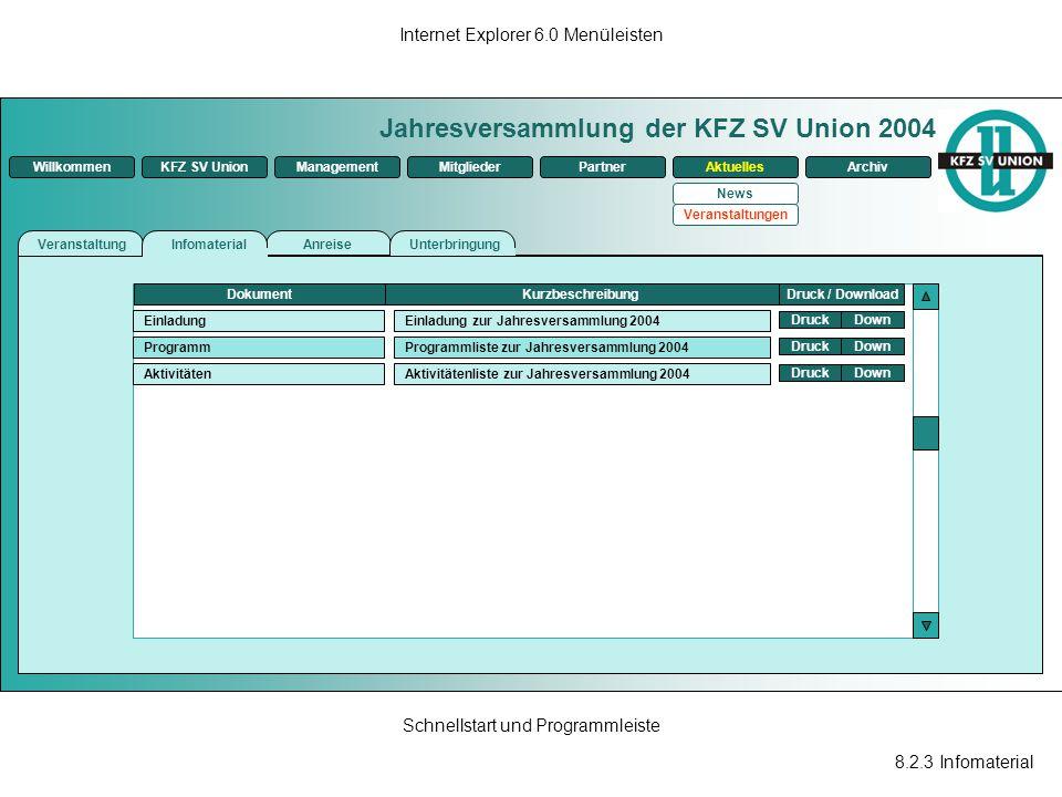 8.2.3 Infomaterial Internet Explorer 6.0 Menüleisten Schnellstart und Programmleiste Jahresversammlung der KFZ SV Union 2004 ManagementKFZ SV UnionMit