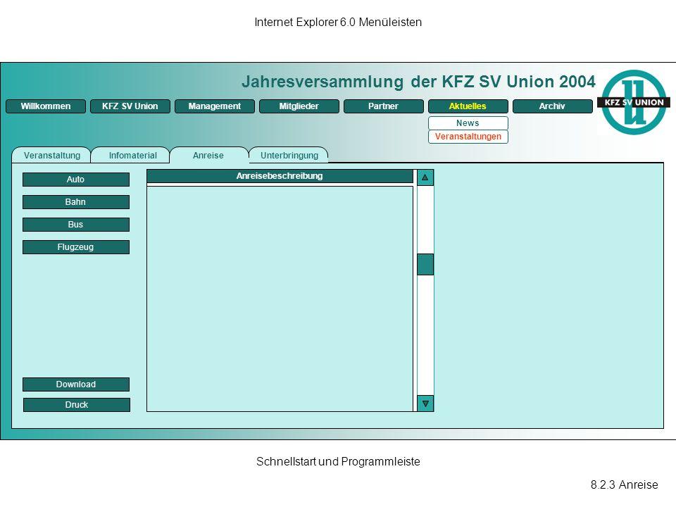 8.2.3 Anreise Internet Explorer 6.0 Menüleisten Schnellstart und Programmleiste Jahresversammlung der KFZ SV Union 2004 ManagementKFZ SV UnionMitglied