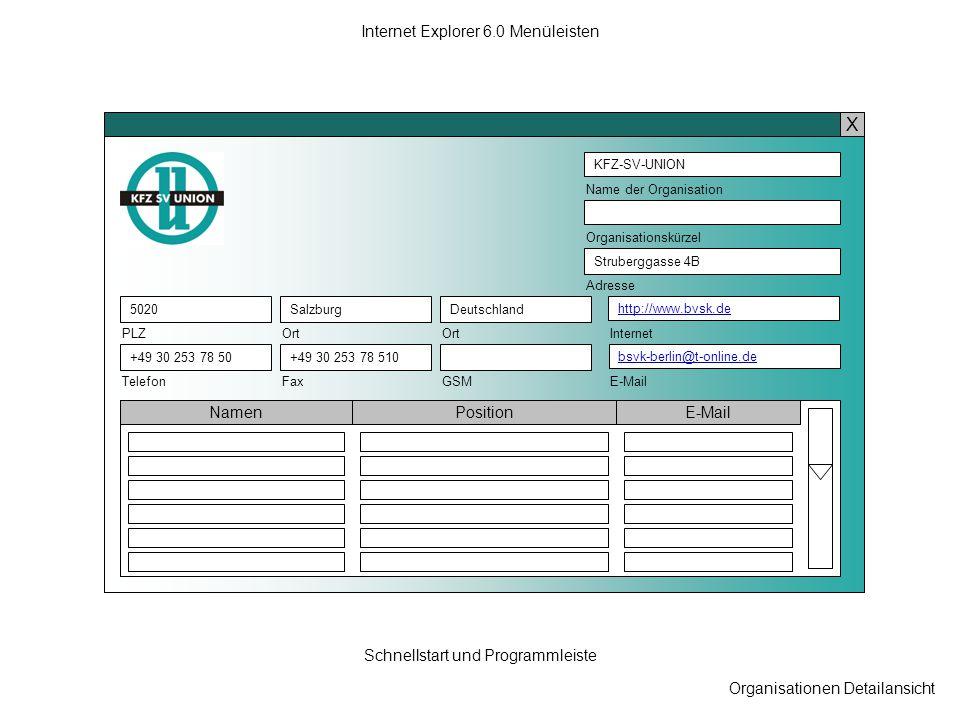 Organisationen Detailansicht Internet Explorer 6.0 Menüleisten Schnellstart und Programmleiste KFZ-SV-UNION Name der Organisation Struberggasse 4B Adr