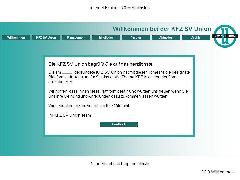 2.0.0 Willkommen Internet Explorer 6.0 Menüleisten Schnellstart und Programmleiste Willkommen bei der KFZ SV Union ManagementKFZ SV UnionMitgliederPar