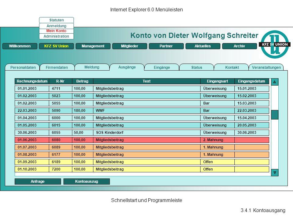 3.4.1 Kontoausgang Internet Explorer 6.0 Menüleisten Schnellstart und Programmleiste Konto von Dieter Wolfgang Schreiter ManagementKFZ SV UnionMitglie