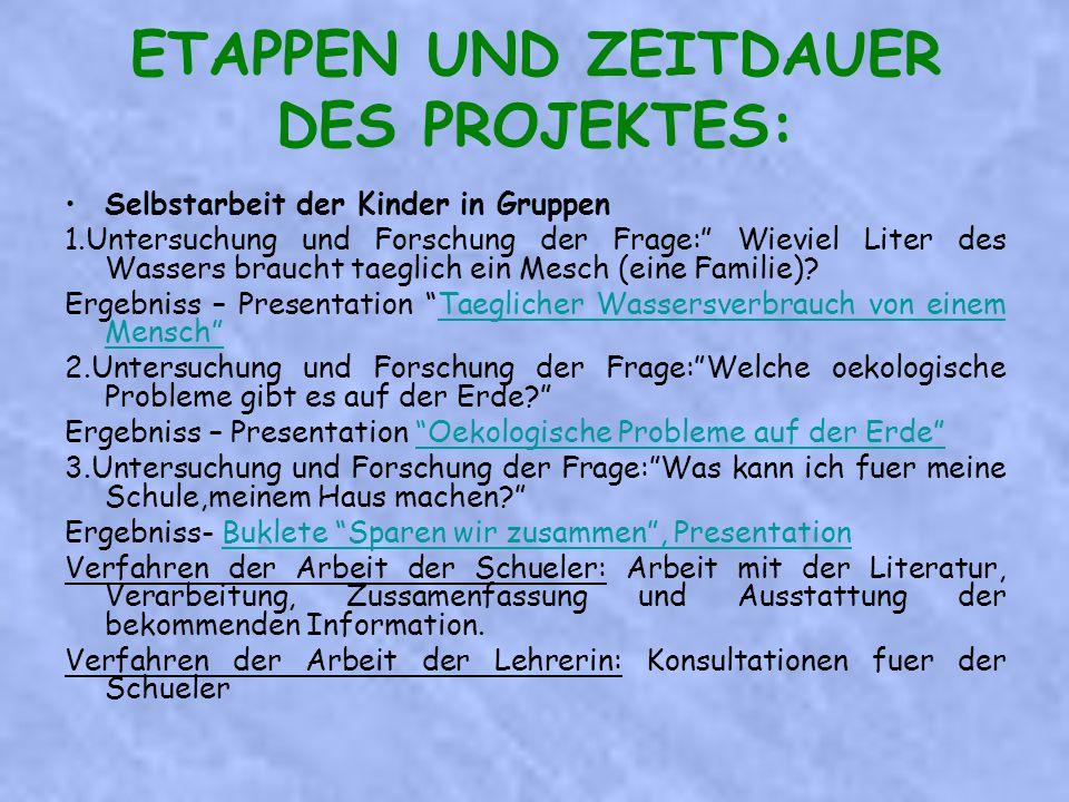 Selbstarbeit der Kinder in Gruppen 1.Untersuchung und Forschung der Frage: Wieviel Liter des Wassers braucht taeglich ein Mesch (eine Familie).