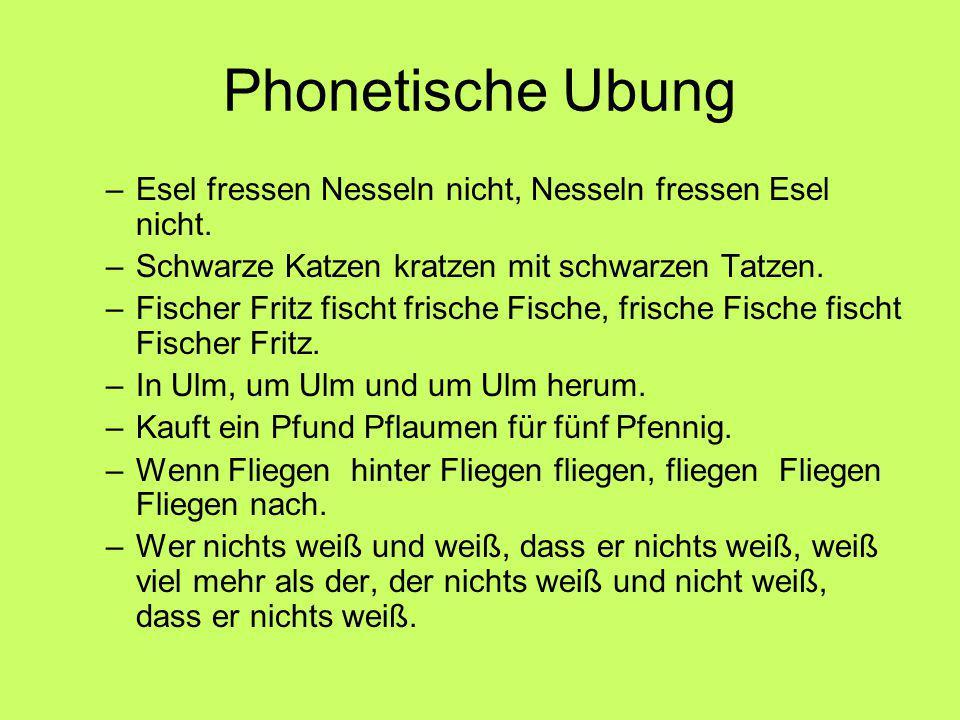 Phonetische Ubung –Esel fressen Nesseln nicht, Nesseln fressen Esel nicht.