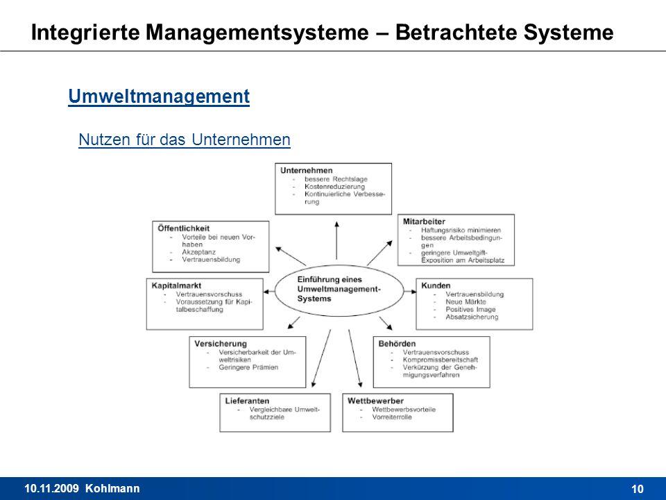 10.11.2009 Kohlmann 10 Integrierte Managementsysteme – Betrachtete Systeme Umweltmanagement Nutzen für das Unternehmen