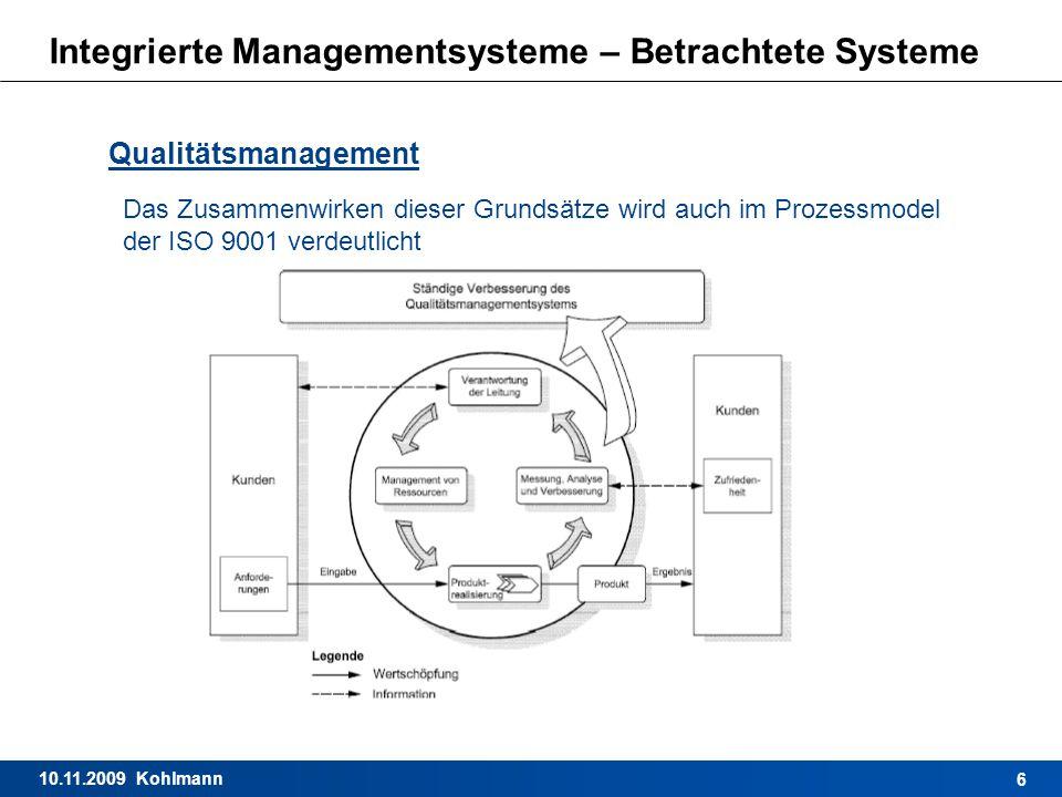 10.11.2009 Kohlmann 6 Integrierte Managementsysteme – Betrachtete Systeme Qualitätsmanagement Das Zusammenwirken dieser Grundsätze wird auch im Prozes
