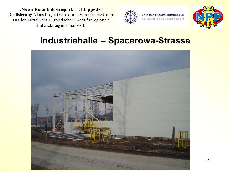 """10 """" Nowa-Ruda-Industriepark – I. Etappe der Realisierung"""". Das Projekt wird durch Europäische Union aus den Mitteln des Europäischen Fonds für region"""