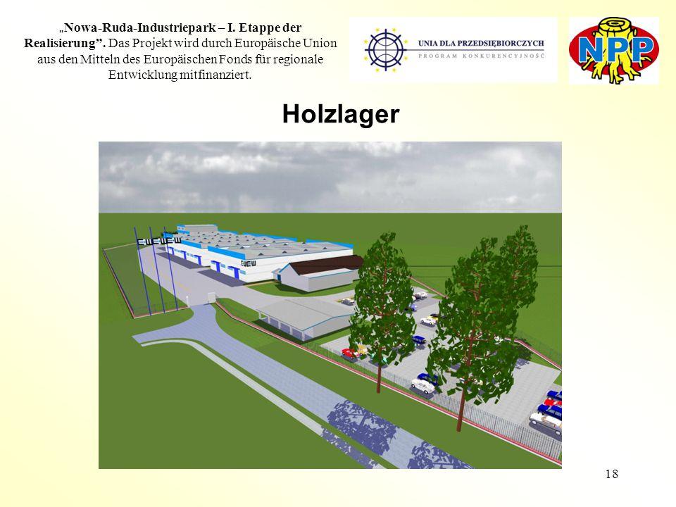 """18 """" Nowa-Ruda-Industriepark – I. Etappe der Realisierung"""". Das Projekt wird durch Europäische Union aus den Mitteln des Europäischen Fonds für region"""