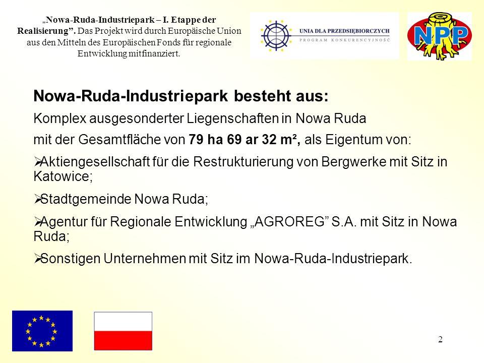 """2 """" Nowa-Ruda-Industriepark – I. Etappe der Realisierung"""". Das Projekt wird durch Europäische Union aus den Mitteln des Europäischen Fonds für regiona"""