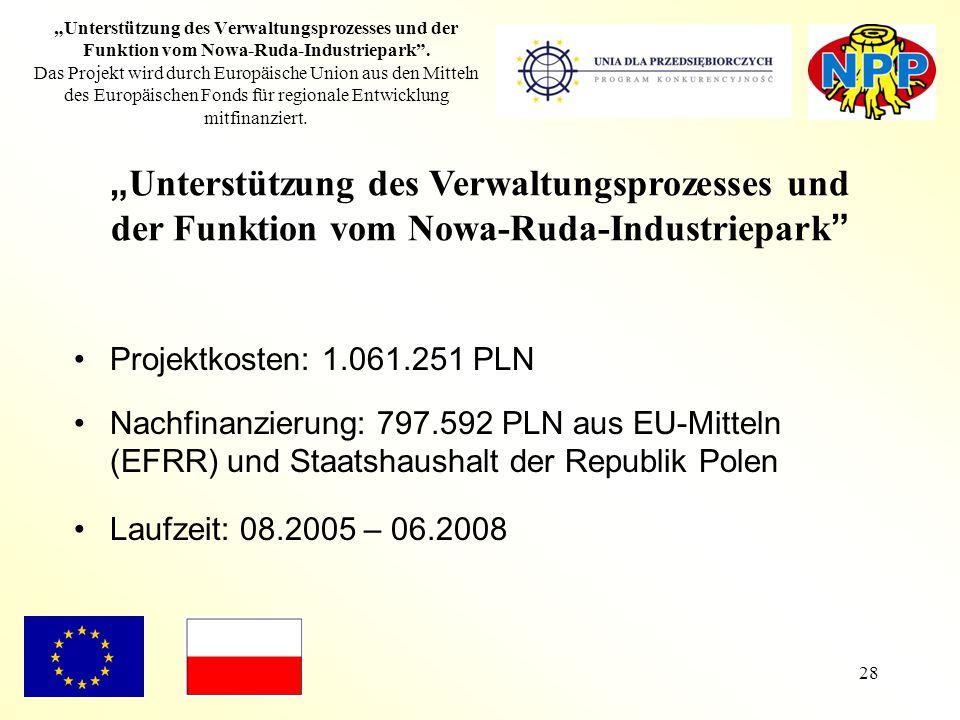 """28 """"Unterstützung des Verwaltungsprozesses und der Funktion vom Nowa-Ruda-Industriepark"""". Das Projekt wird durch Europäische Union aus den Mitteln des"""