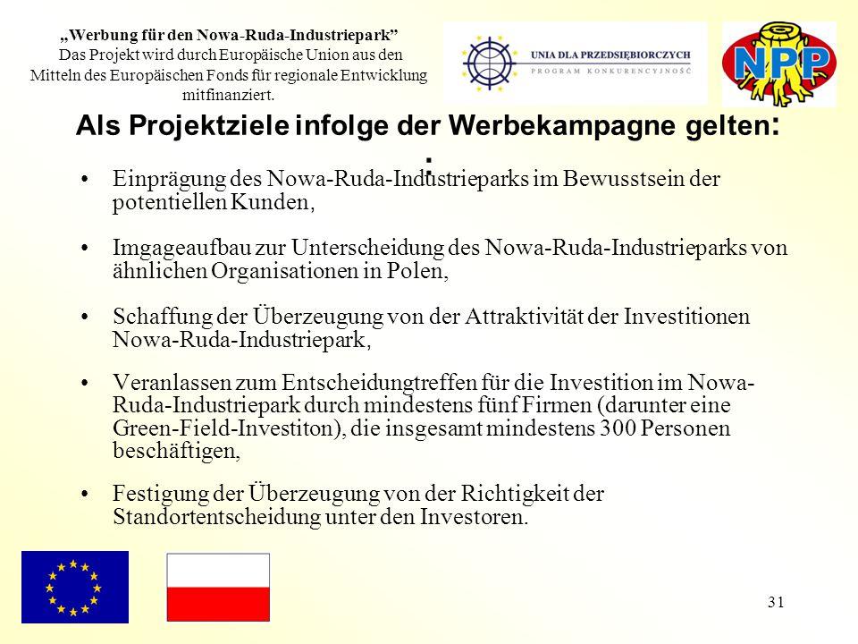 """31 """"Werbung für den Nowa-Ruda-Industriepark"""" Das Projekt wird durch Europäische Union aus den Mitteln des Europäischen Fonds für regionale Entwicklung"""