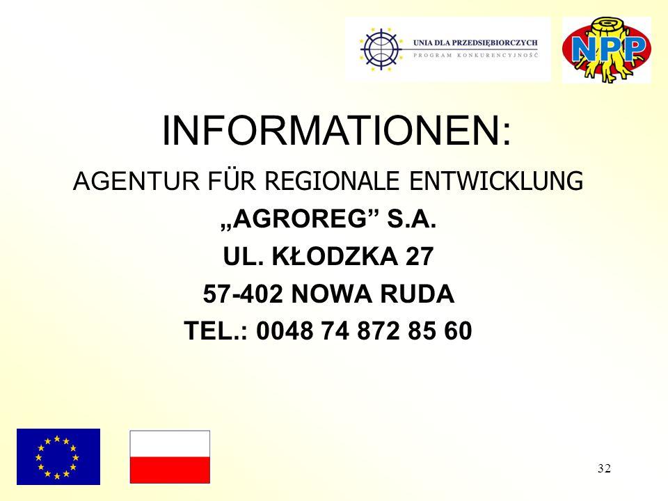 """32 AGENTUR F ÜR REGIONALE ENTWICKLUNG """"AGROREG"""" S.A. UL. KŁODZKA 27 57-402 NOWA RUDA TEL.: 0048 74 872 85 60 INFORMATIONEN:"""