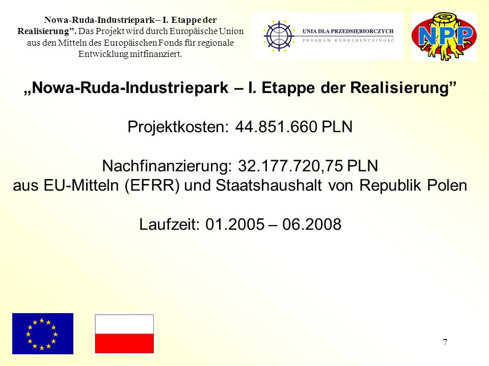 """7 Nowa-Ruda-Industriepark – I. Etappe der Realisierung"""". Das Projekt wird durch Europäische Union aus den Mitteln des Europäischen Fonds für regionale"""