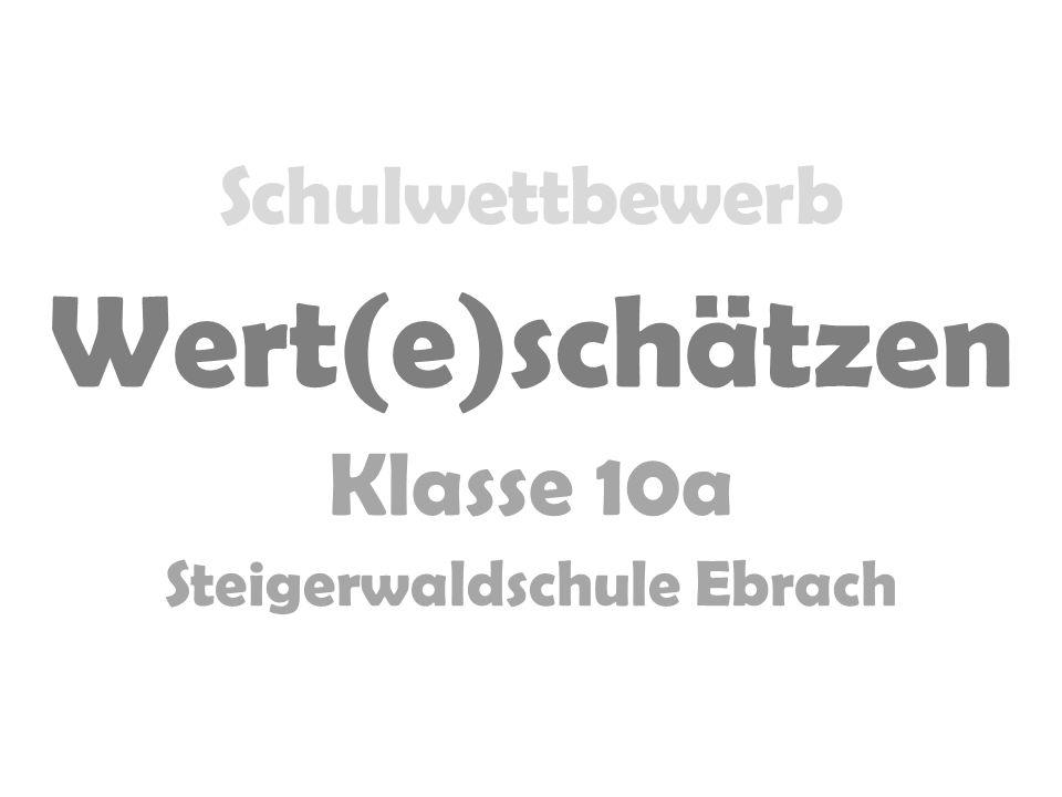 Schulwettbewerb Wert(e)schätzen Klasse 10a Steigerwaldschule Ebrach