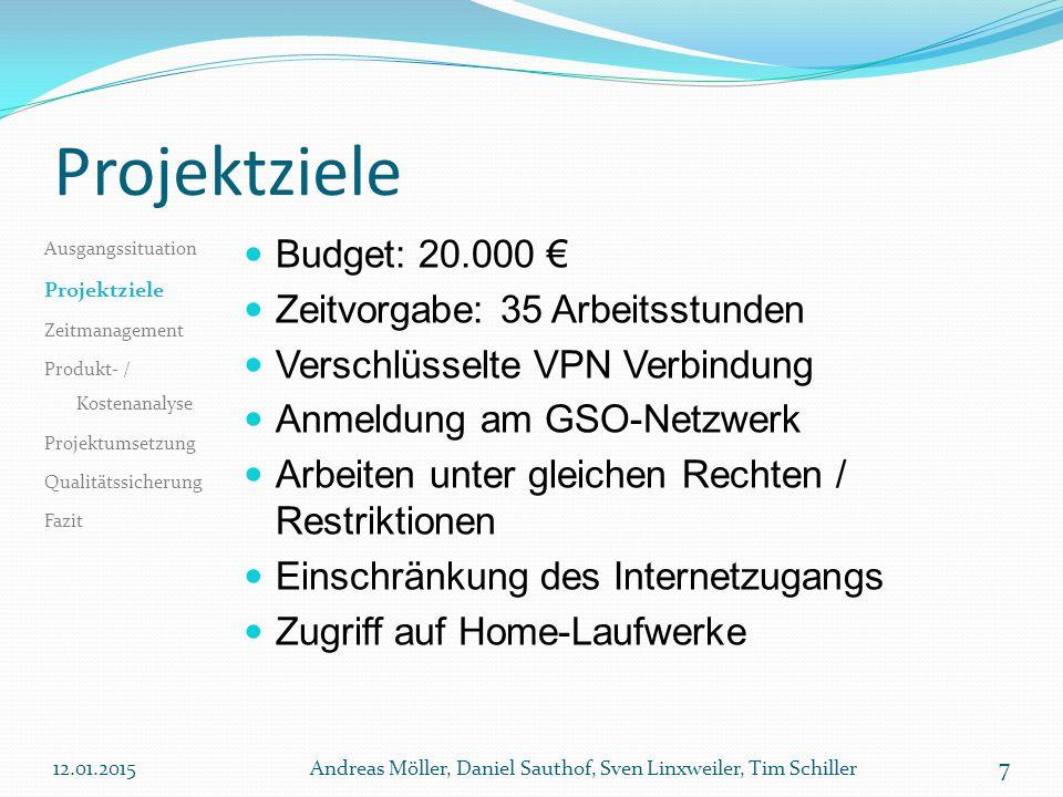 Projektziele Budget: 20.000 € Zeitvorgabe: 35 Arbeitsstunden Verschlüsselte VPN Verbindung Anmeldung am GSO-Netzwerk Arbeiten unter gleichen Rechten /
