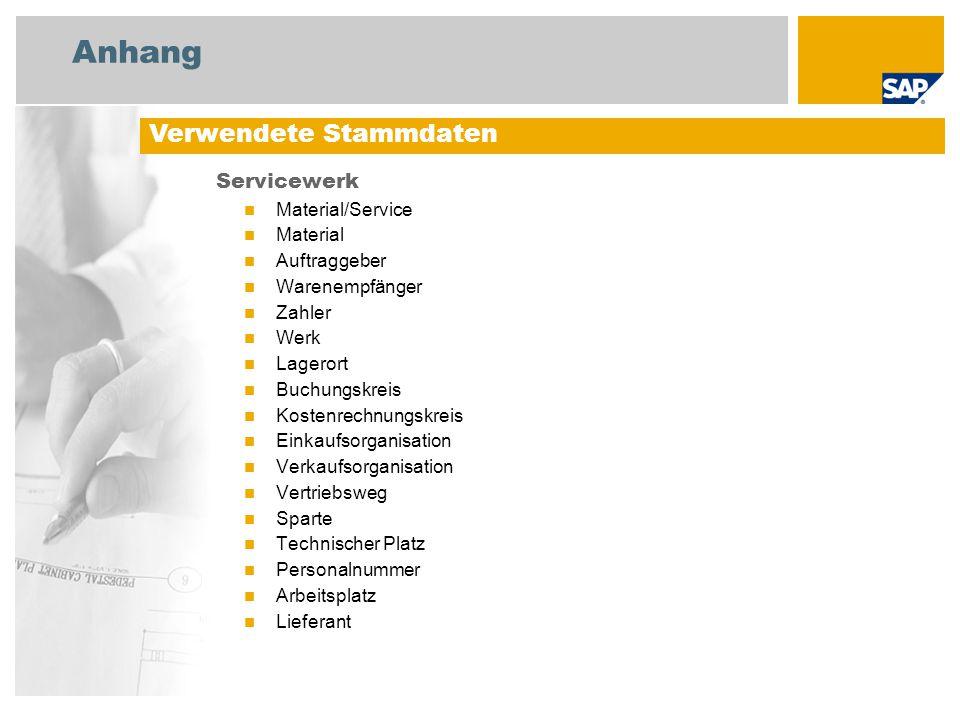 Anhang Servicewerk Material/Service Material Auftraggeber Warenempfänger Zahler Werk Lagerort Buchungskreis Kostenrechnungskreis Einkaufsorganisation