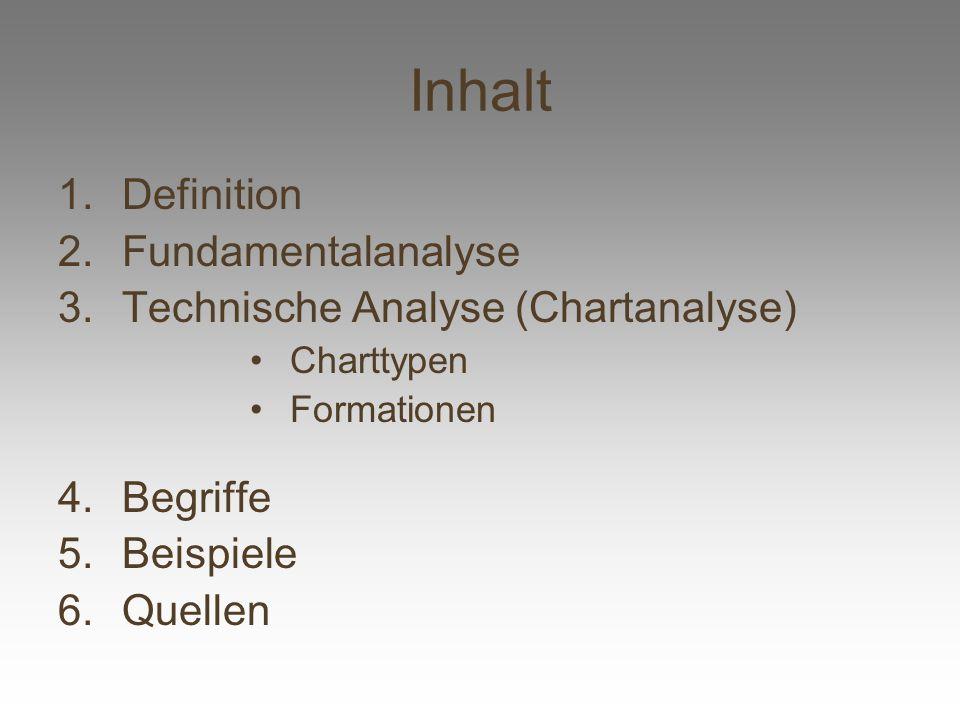 Inhalt 1.Definition 2.Fundamentalanalyse 3.Technische Analyse (Chartanalyse) Charttypen Formationen 4.Begriffe 5.Beispiele 6.Quellen