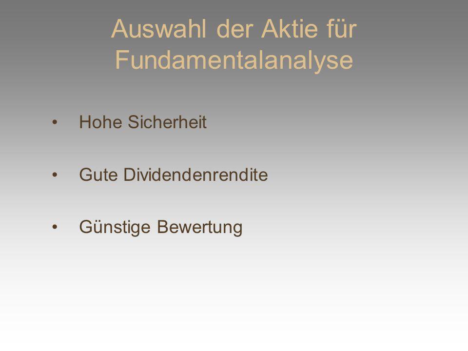 Auswahl der Aktie für Fundamentalanalyse Hohe Sicherheit Gute Dividendenrendite Günstige Bewertung