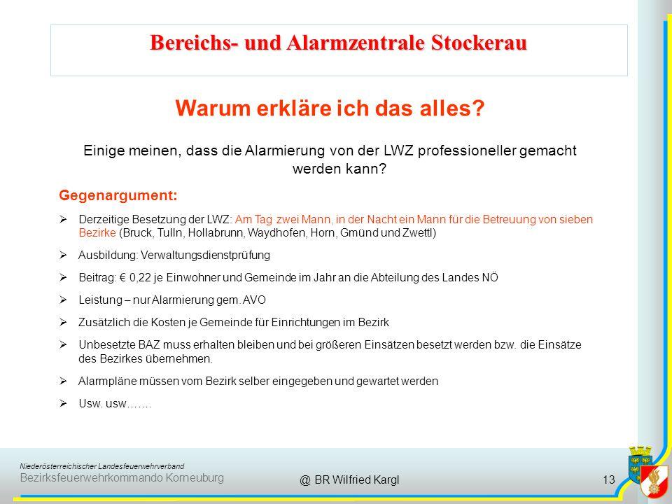 Niederösterreichischer Landesfeuerwehrverband Bezirksfeuerwehrkommando Korneuburg Bereichs- und Alarmzentrale Stockerau @ BR Wilfried Kargl Warum erkläre ich das alles.