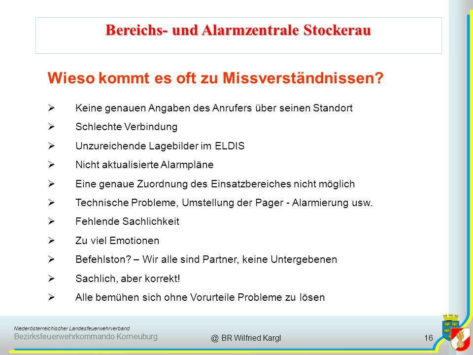 Niederösterreichischer Landesfeuerwehrverband Bezirksfeuerwehrkommando Korneuburg Bereichs- und Alarmzentrale Stockerau @ BR Wilfried Kargl Wieso kommt es oft zu Missverständnissen.