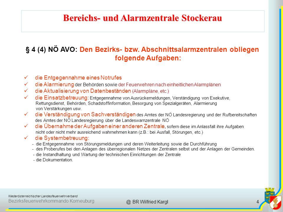 Niederösterreichischer Landesfeuerwehrverband Bezirksfeuerwehrkommando Korneuburg Bereichs- und Alarmzentrale Stockerau @ BR Wilfried Kargl § 4 (4) NÖ AVO: Den Bezirks- bzw.