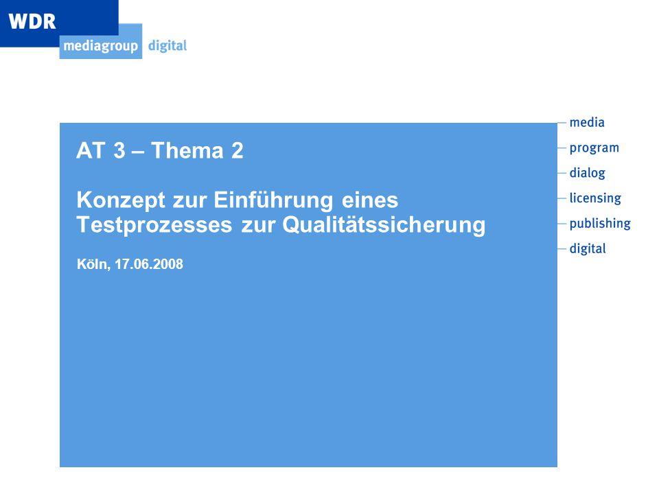 AT 3 – Thema 2 Konzept zur Einführung eines Testprozesses zur Qualitätssicherung Köln, 17.06.2008