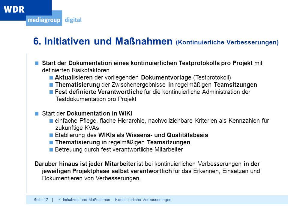 Seite 12 6. Initiativen und Maßnahmen (Kontinuierliche Verbesserungen) 6. Initiativen und Maßnahmen – Kontinuierliche Verbesserungen ■ Start der Dokum