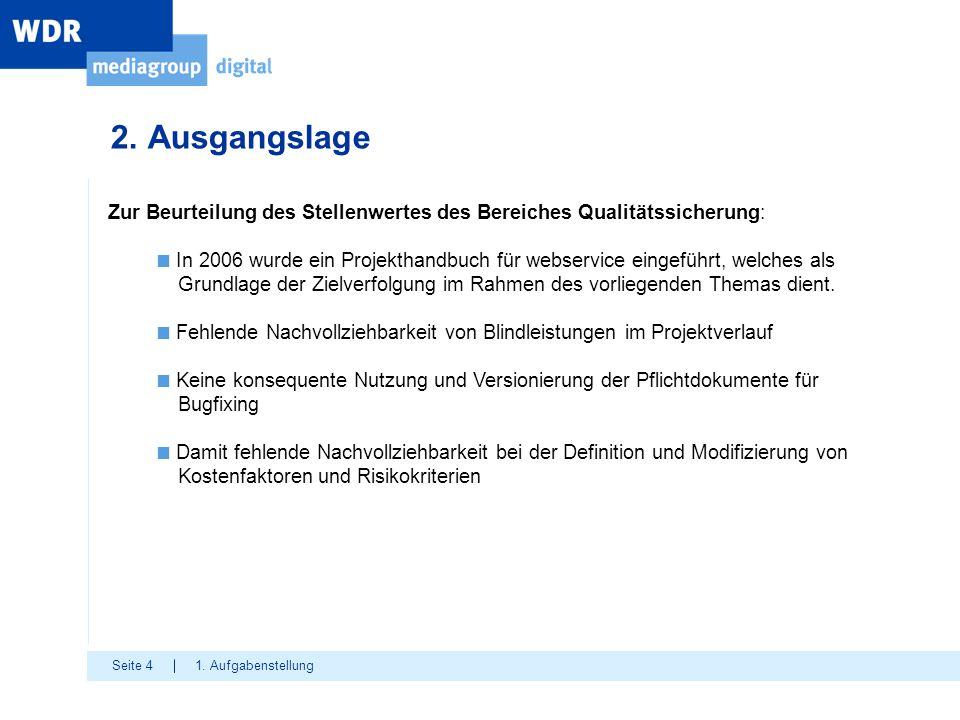 Seite 4 2. Ausgangslage 1. Aufgabenstellung Zur Beurteilung des Stellenwertes des Bereiches Qualitätssicherung: ■ In 2006 wurde ein Projekthandbuch fü