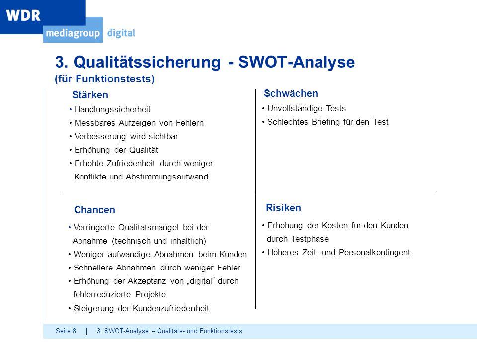 Seite 8 3. Qualitätssicherung - SWOT-Analyse (für Funktionstests) Stärken Handlungssicherheit Messbares Aufzeigen von Fehlern Verbesserung wird sichtb