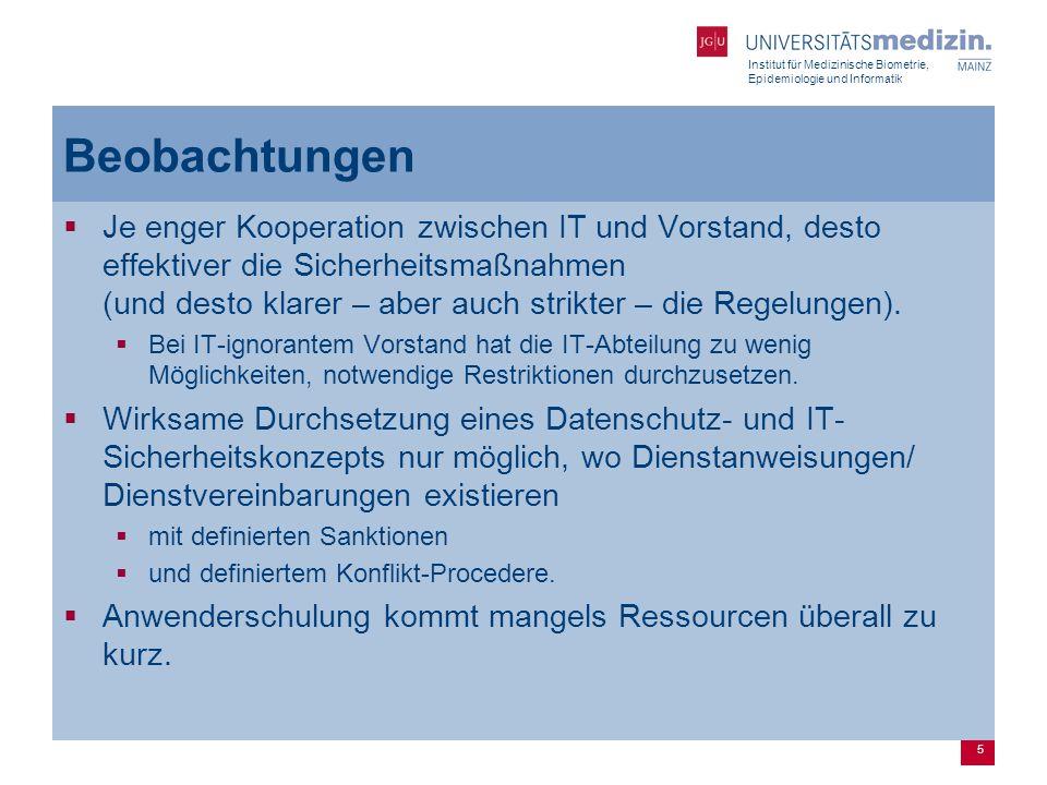 Institut für Medizinische Biometrie, Epidemiologie und Informatik 6 Grundsätzliche Erkenntnisse  Auftrennung des Kliniksnetzes zwischen Krankenversorgung und FuL unumgänglich.