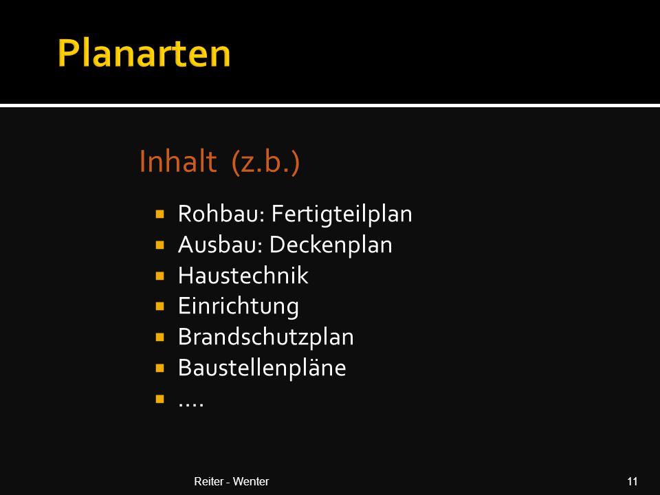 Inhalt (z.b.) Reiter - Wenter11  Rohbau: Fertigteilplan  Ausbau: Deckenplan  Haustechnik  Einrichtung  Brandschutzplan  Baustellenpläne ....