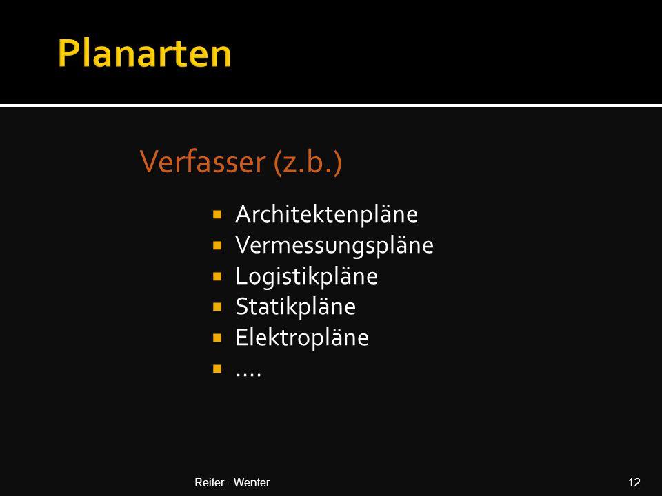 Verfasser (z.b.) Reiter - Wenter12  Architektenpläne  Vermessungspläne  Logistikpläne  Statikpläne  Elektropläne ....