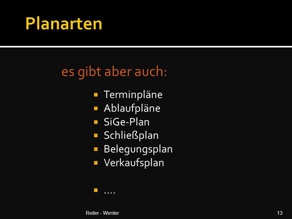 es gibt aber auch: Reiter - Wenter13  Terminpläne  Ablaufpläne  SiGe-Plan  Schließplan  Belegungsplan  Verkaufsplan ....