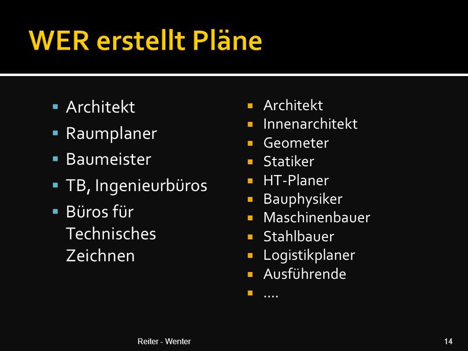  Architekt  Raumplaner  Baumeister  TB, Ingenieurbüros  Büros für Technisches Zeichnen  Architekt  Innenarchitekt  Geometer  Statiker  HT-Planer  Bauphysiker  Maschinenbauer  Stahlbauer  Logistikplaner  Ausführende ....