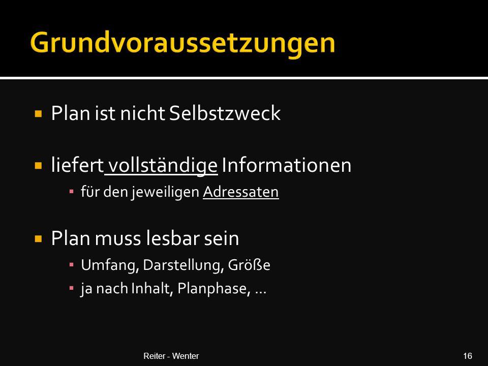  Plan ist nicht Selbstzweck  liefert vollständige Informationen ▪ für den jeweiligen Adressaten  Plan muss lesbar sein ▪ Umfang, Darstellung, Größe ▪ ja nach Inhalt, Planphase,...