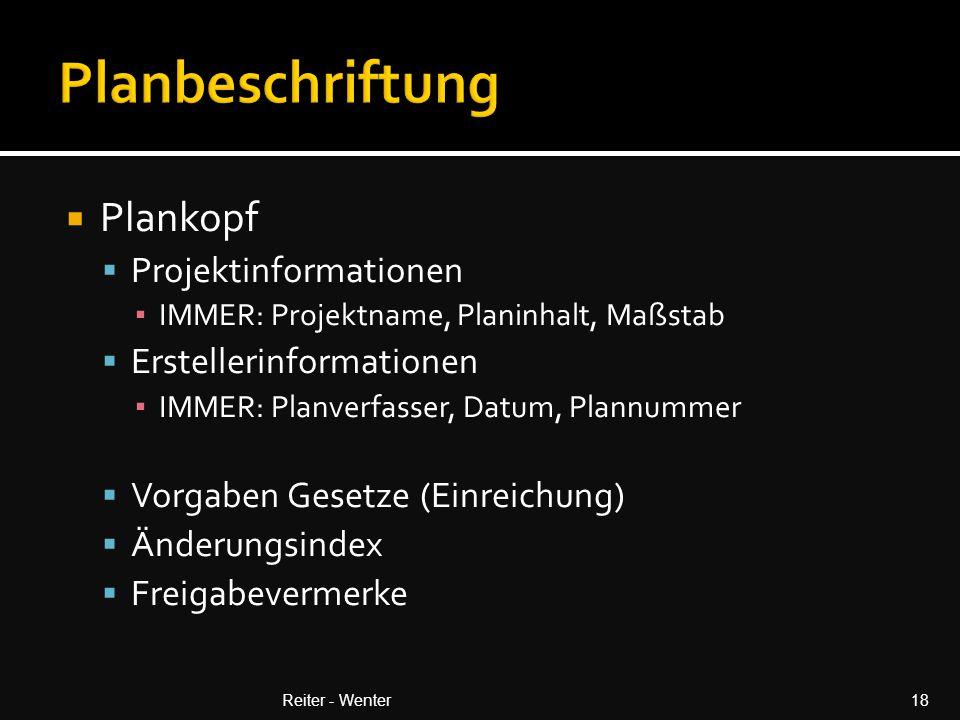  Plankopf  Projektinformationen ▪ IMMER: Projektname, Planinhalt, Maßstab  Erstellerinformationen ▪ IMMER: Planverfasser, Datum, Plannummer  Vorgaben Gesetze (Einreichung)  Änderungsindex  Freigabevermerke Reiter - Wenter18