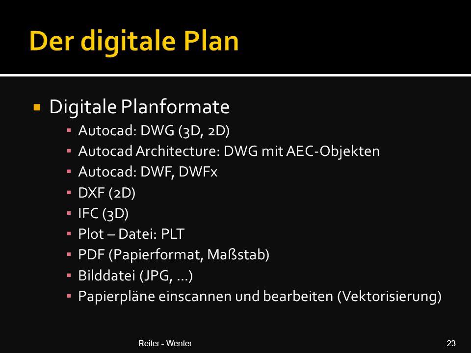  Digitale Planformate ▪ Autocad: DWG (3D, 2D) ▪ Autocad Architecture: DWG mit AEC-Objekten ▪ Autocad: DWF, DWFx ▪ DXF (2D) ▪ IFC (3D) ▪ Plot – Datei: PLT ▪ PDF (Papierformat, Maßstab) ▪ Bilddatei (JPG,...) ▪ Papierpläne einscannen und bearbeiten (Vektorisierung) Reiter - Wenter23