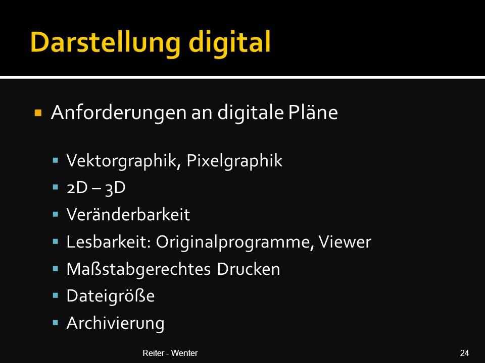  Anforderungen an digitale Pläne  Vektorgraphik, Pixelgraphik  2D – 3D  Veränderbarkeit  Lesbarkeit: Originalprogramme, Viewer  Maßstabgerechtes Drucken  Dateigröße  Archivierung Reiter - Wenter24