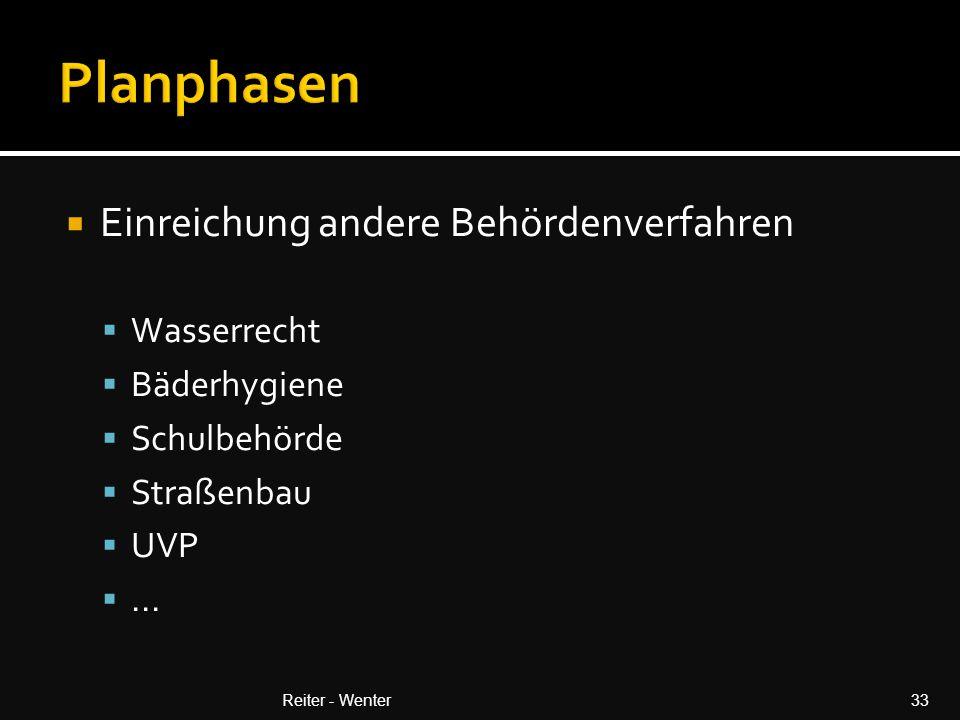  Einreichung andere Behördenverfahren  Wasserrecht  Bäderhygiene  Schulbehörde  Straßenbau  UVP ...