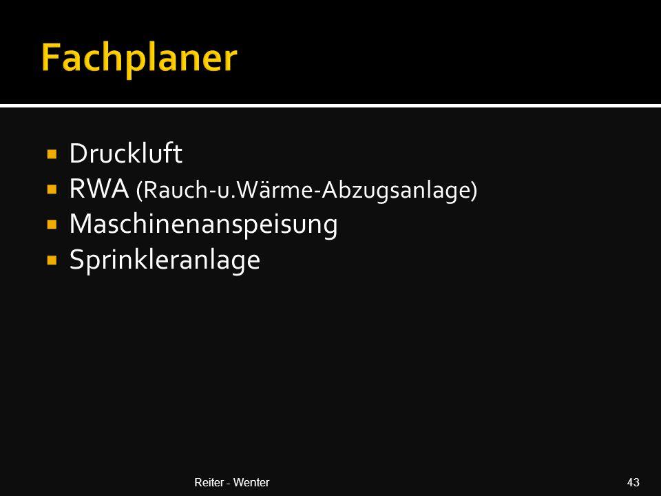  Druckluft  RWA (Rauch-u.Wärme-Abzugsanlage)  Maschinenanspeisung  Sprinkleranlage Reiter - Wenter43