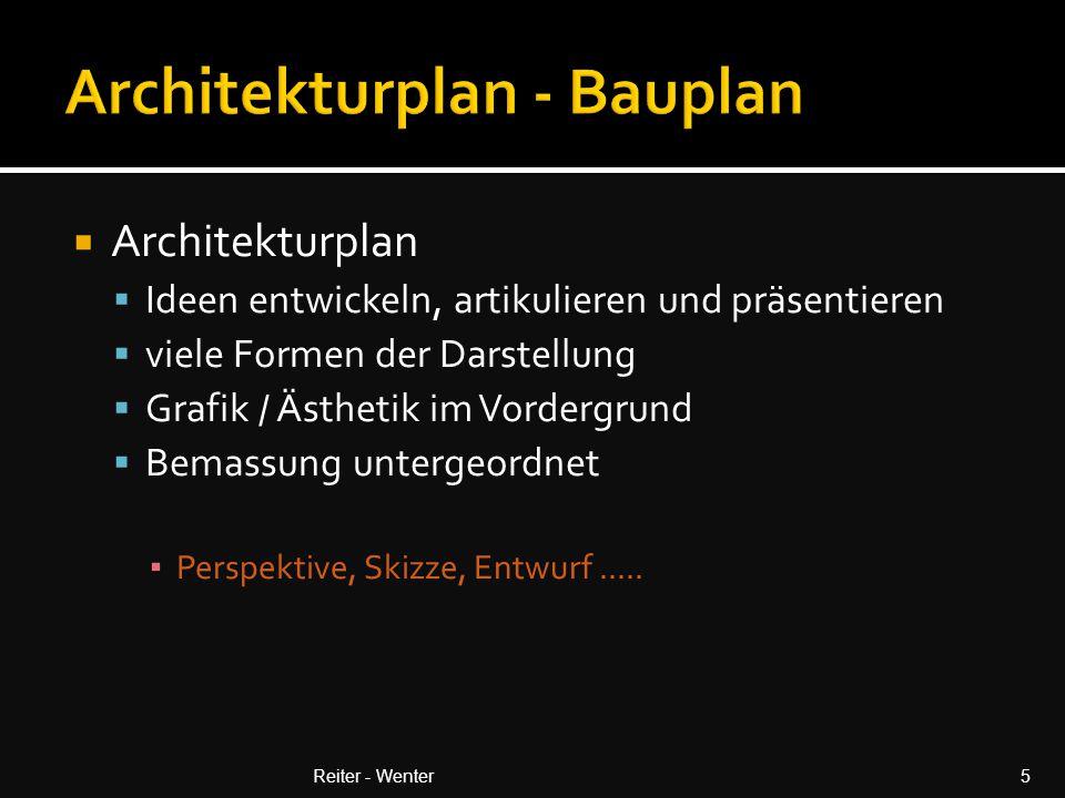  Architekturplan  Ideen entwickeln, artikulieren und präsentieren  viele Formen der Darstellung  Grafik / Ästhetik im Vordergrund  Bemassung untergeordnet ▪ Perspektive, Skizze, Entwurf.....