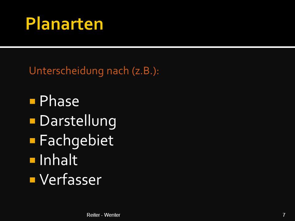 Phasen (z.b.)  Bestand  Studie  Entwurf  Einreichung  Ausschreibung  Übergabe Reiter - Wenter8