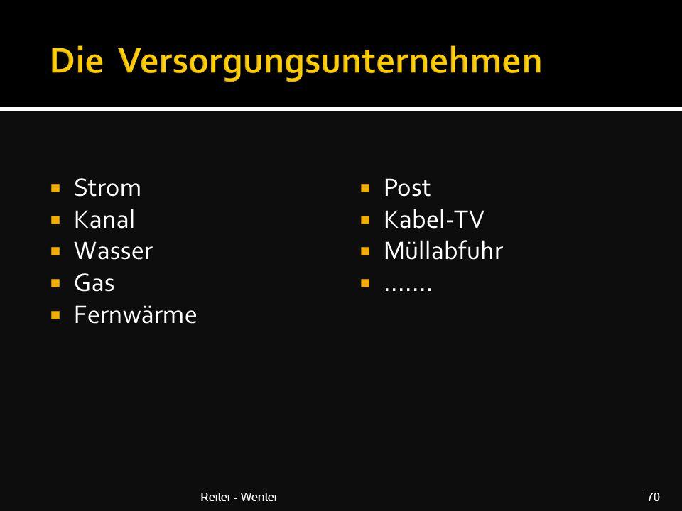  Strom  Kanal  Wasser  Gas  Fernwärme  Post  Kabel-TV  Müllabfuhr .......